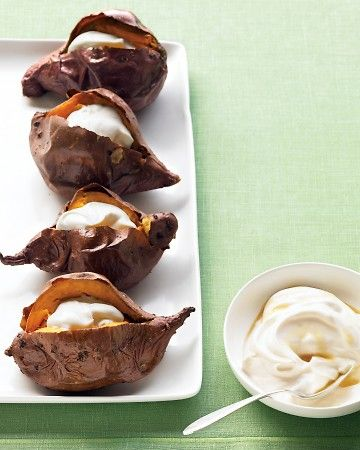 Baked Sweet Potatoes with Maple Sour Cream