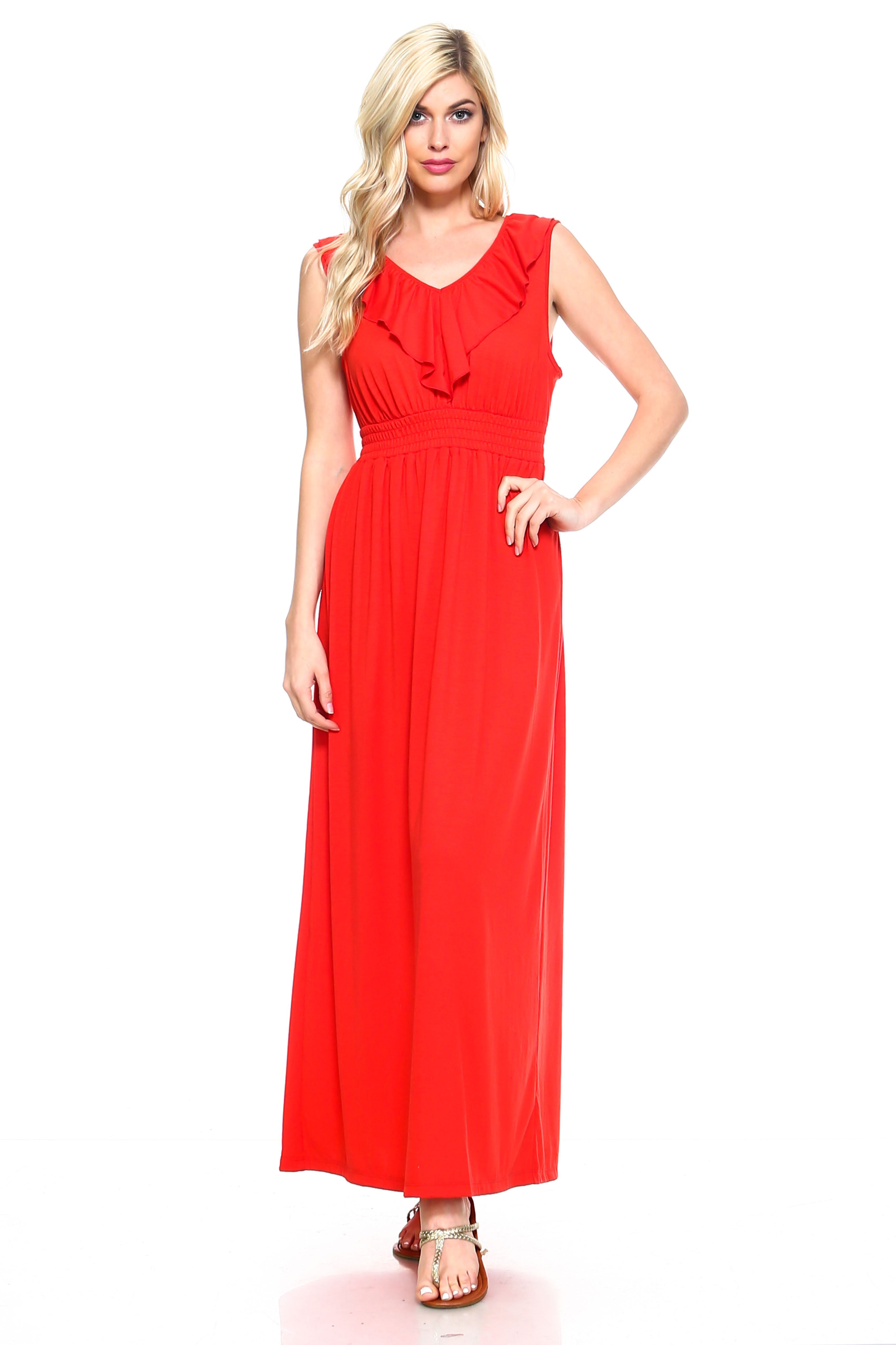 Women S Empire Waist Smocked Maxi Dress Multiple Colors Available