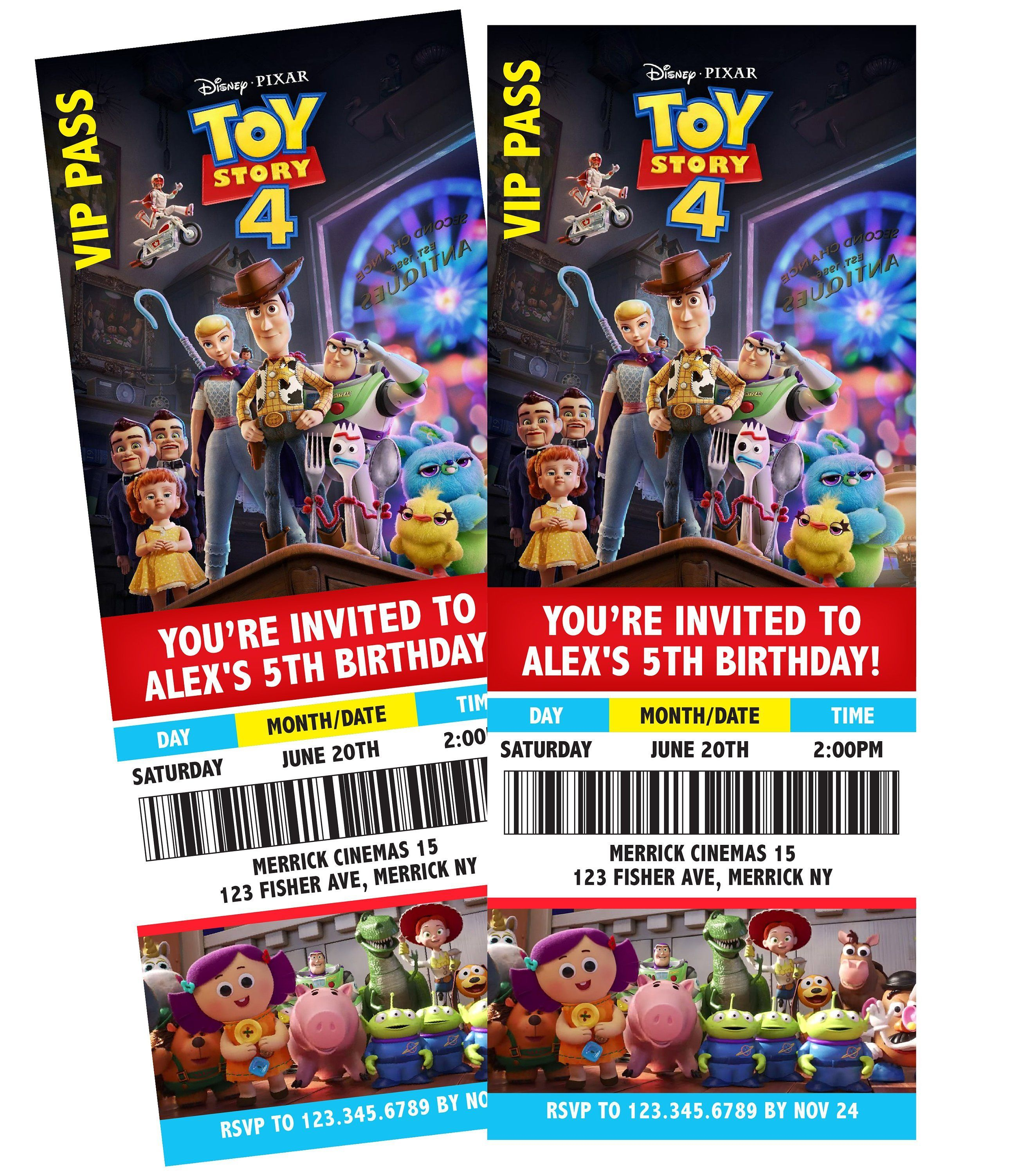 Toy Story 4 Movie Ticket Themed Birthday Party Invitation