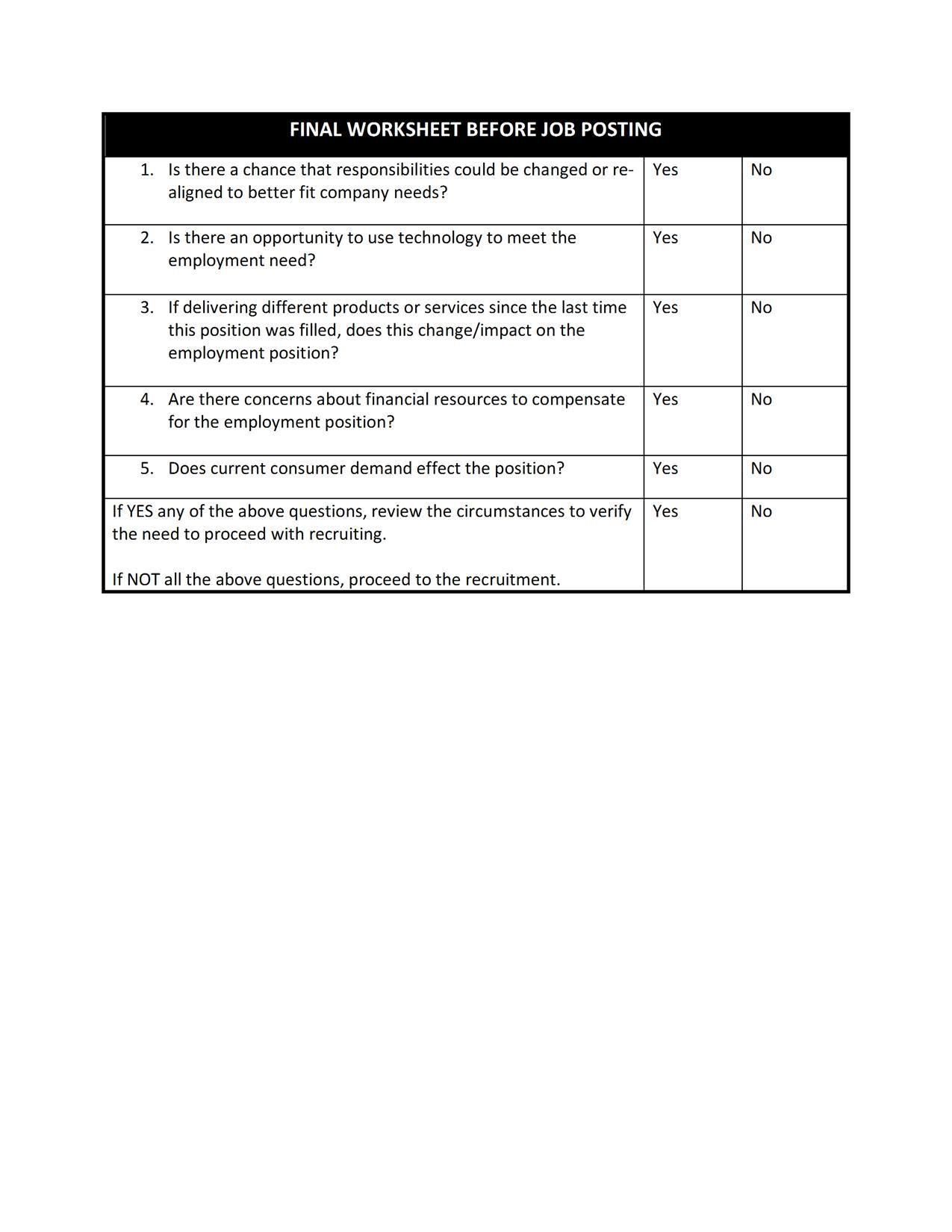Form 8 Final Worksheet Before Job Posting