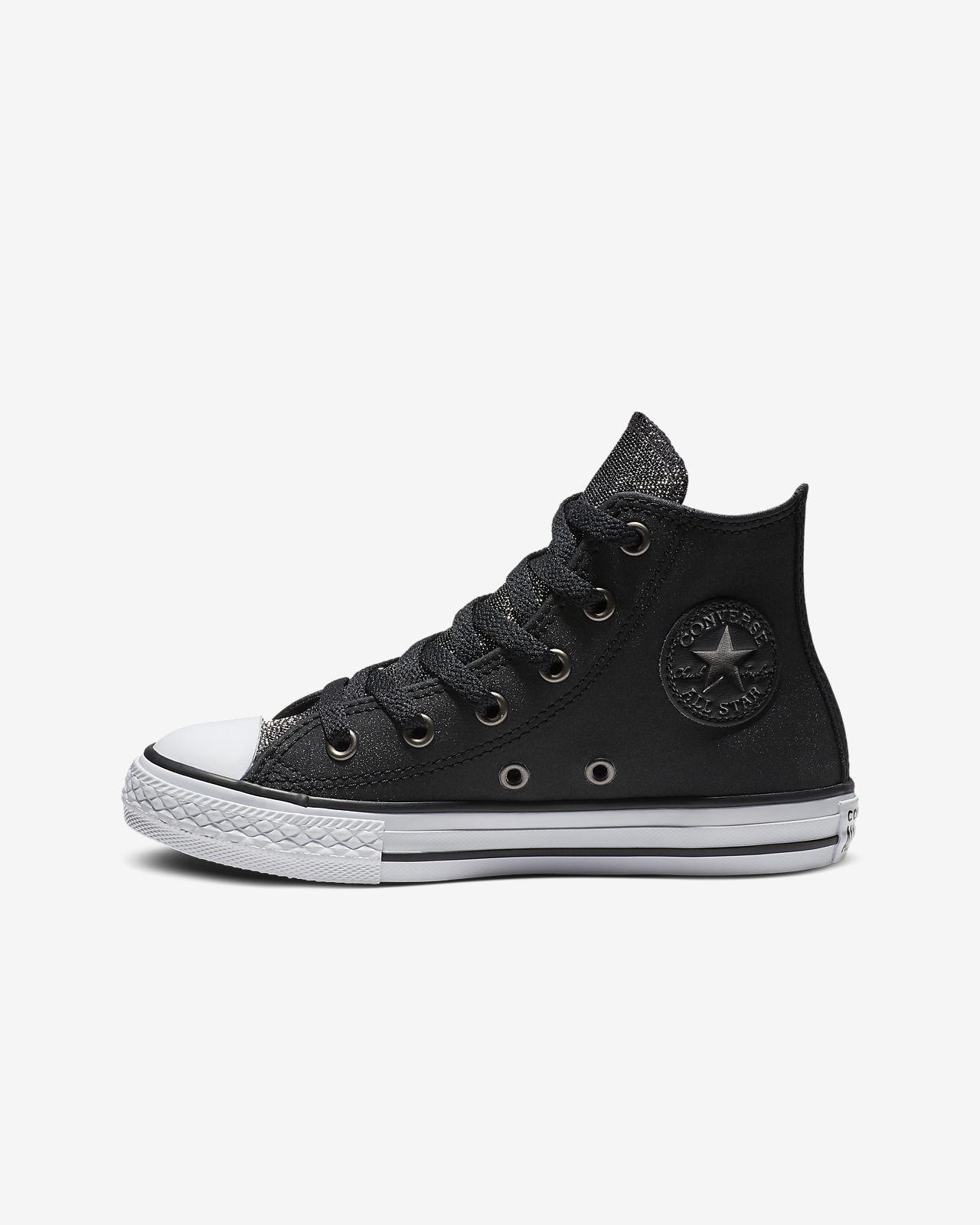 Converse Chuck Taylor All Star Graphite Glitter Leather High Top Big Kids   Shoe 4c862bca6e
