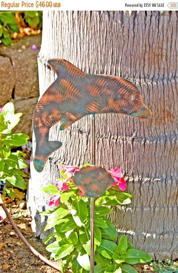 ON SALE Dolphin Garden Stake - Metal Yard Art - Metal Garden Art