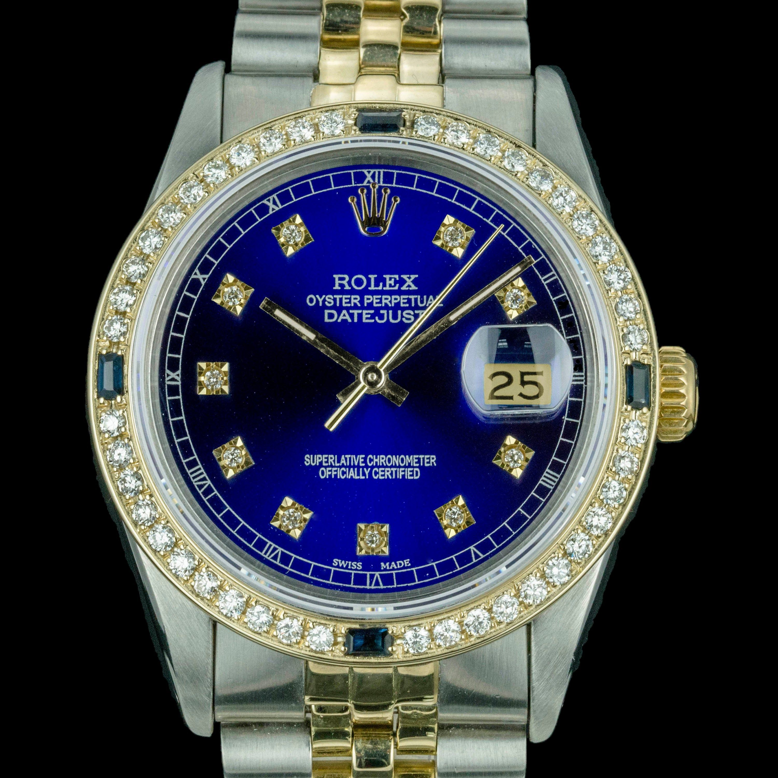 Mens Rolex Watch Datejust 16013 18k Yellow Gold & Stainless Steel Royal Blue w 1.35 ctDiamonds and Sapphires #stainlesssteelrolex