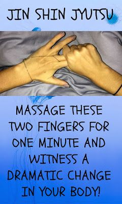 JIN SHIN JYUTSU: MASSAGE THESE TWO FINGERS FOR ONE MINUTE AND WITNESS A DRAMATIC CHANGE IN YOUR BODY There are many alternative healing techniques including reflexology, acupuncture, massage therapies and these methods have been used for hundreds of years in the traditional Chinese medicine, Egypt and other countries in the Far East.