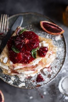 Coconut Honey Crepes with Whipped Mascarpone + Blood Orange Compote