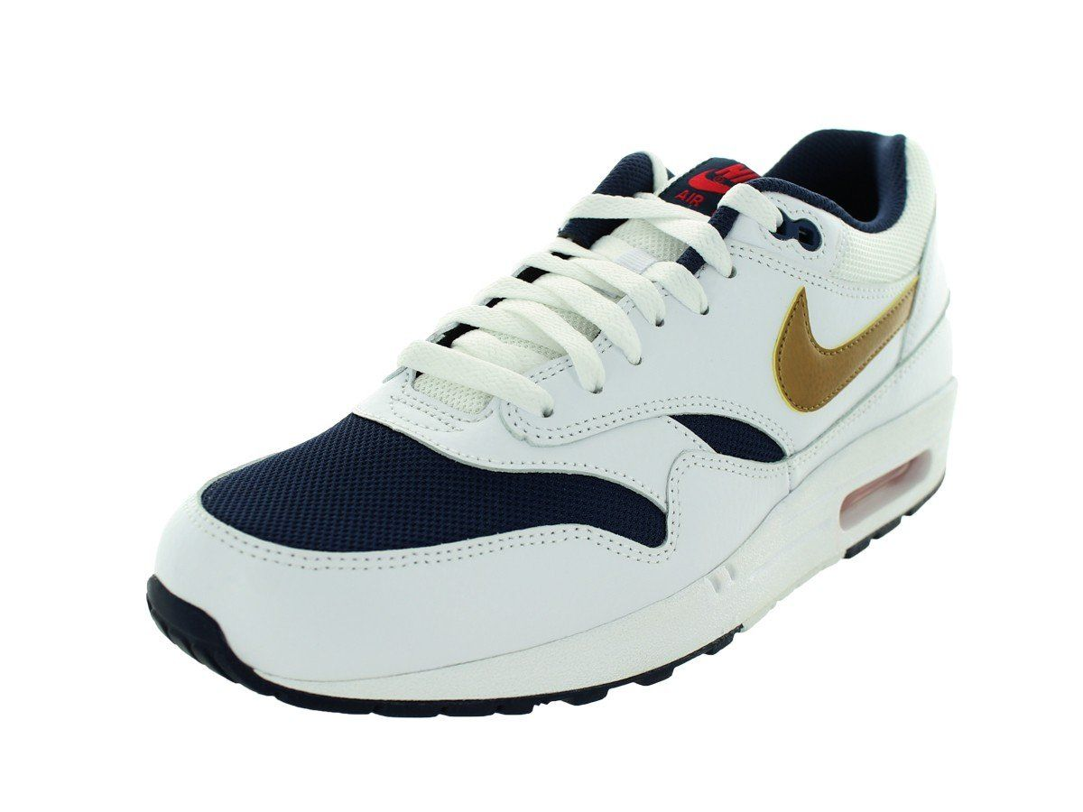 f164940a866ea Nike 2015 Q3 Men Air Max 1 Essential USA Fashion Sneaker Shoes White  537383-127