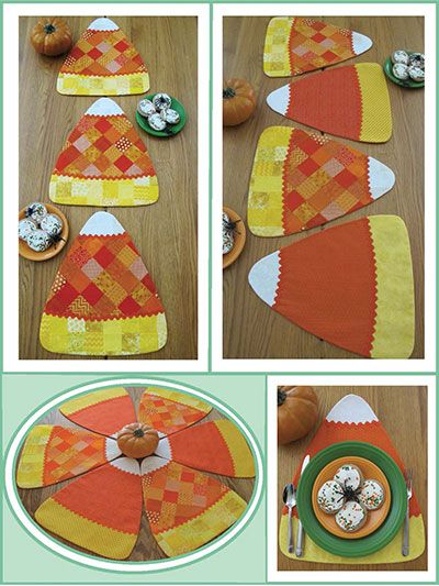 Candy Corn Pieces Place Mats Table Toppers Sewing Pattern