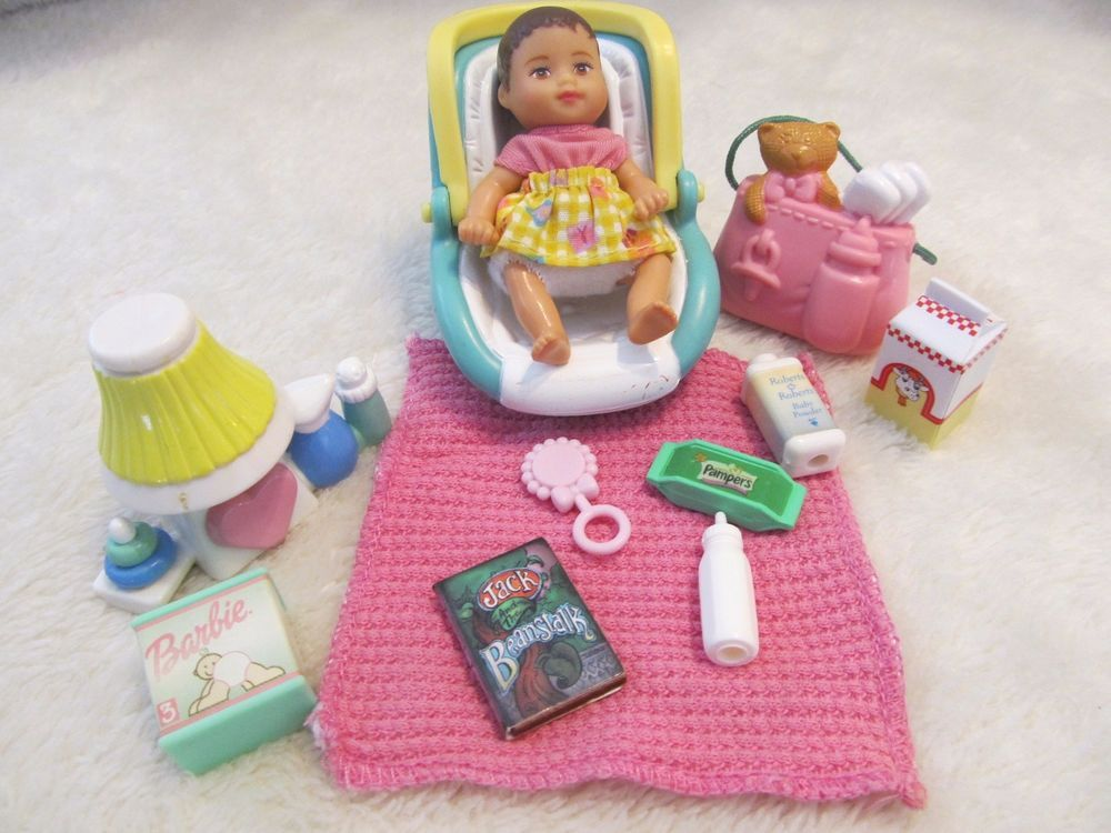 Barbie Krissy Baby Sister Doll Clothes Nursery Lamp Car Seat Diaper Bag More Mattel DollswithClothingAccessories