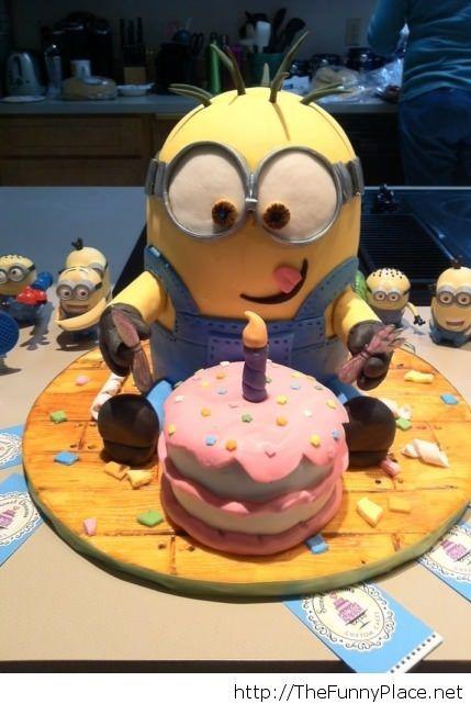 Fabulous Happy Birthday Cake Picture With Minions Funny Picture With Funny Birthday Cards Online Alyptdamsfinfo