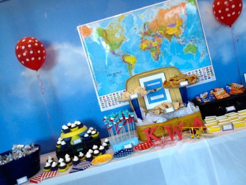 airplane aviation captain knox birthday party dessert table with map