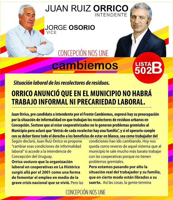 Cambiemos Concepción del Uruguay: Juan Ruiz Orrico anunció que en el municipio no ha...