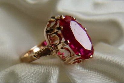 Russian rose gold ruby ring vrrb114 Russian Vintage Jewellery