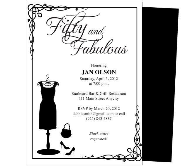fifty 50th birthday invitation template