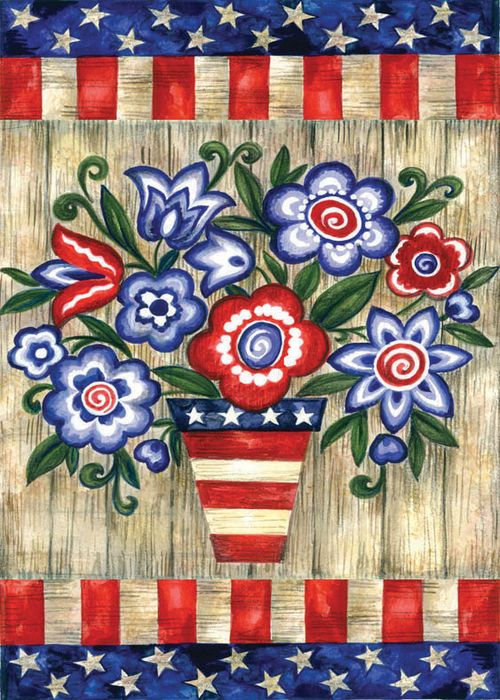 Patriotic Flowers Standard Flag By Toland 8228 8228 19 99 Celebration Flags Flags Windsocks Mail Wraps Amp C Flag Decor Fabric Flags House Flags