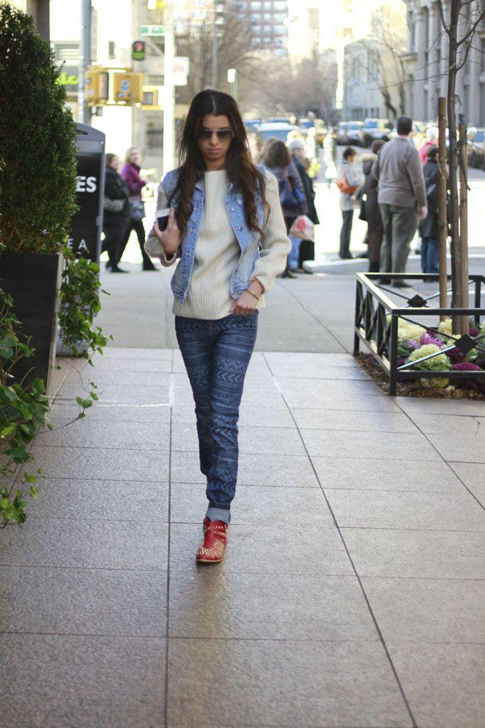 #zara #aztecjeans #denimvest #studdedbooties #blogger #fashionblog #nyblogger #fashionroll