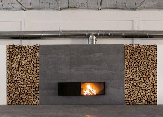Range b ches int rieur 27 id es d co pour stocker votre bois h chemin e en b ton - Deco cheminee interieur ...