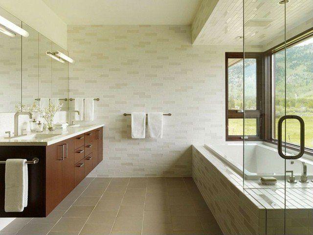 Meuble salle de bains bois, carrelage et déco en 105 idées!