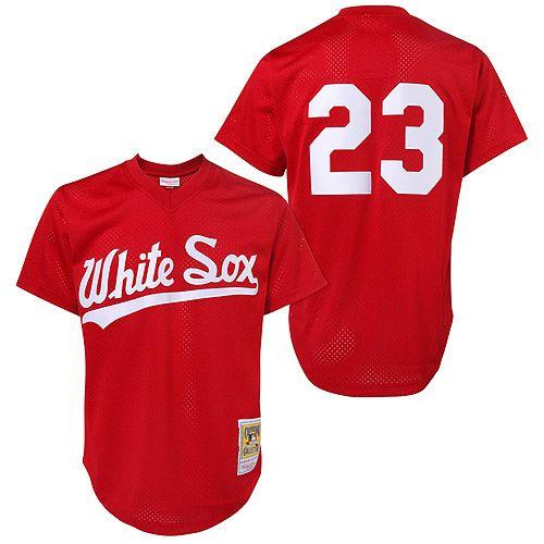Chicago White Sox #23 Robin Ventura 1990 Mesh BP Red Throwback Jersey