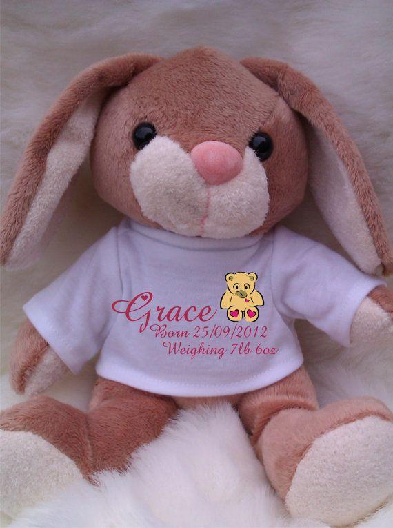 Personalised bunny rabbit for newborn baby girls you can add personalised bunny rabbit for newborn baby girls you can add babys name date of negle Gallery