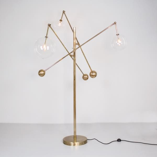 Schwung home usa inc b070 milan 3 arms floor lamp inspired by mid schwung home usa inc b070 milan 3 arms floor lamp inspired by mid century design made entirely of brass hand blown glass arm positions are adjustable aloadofball Gallery