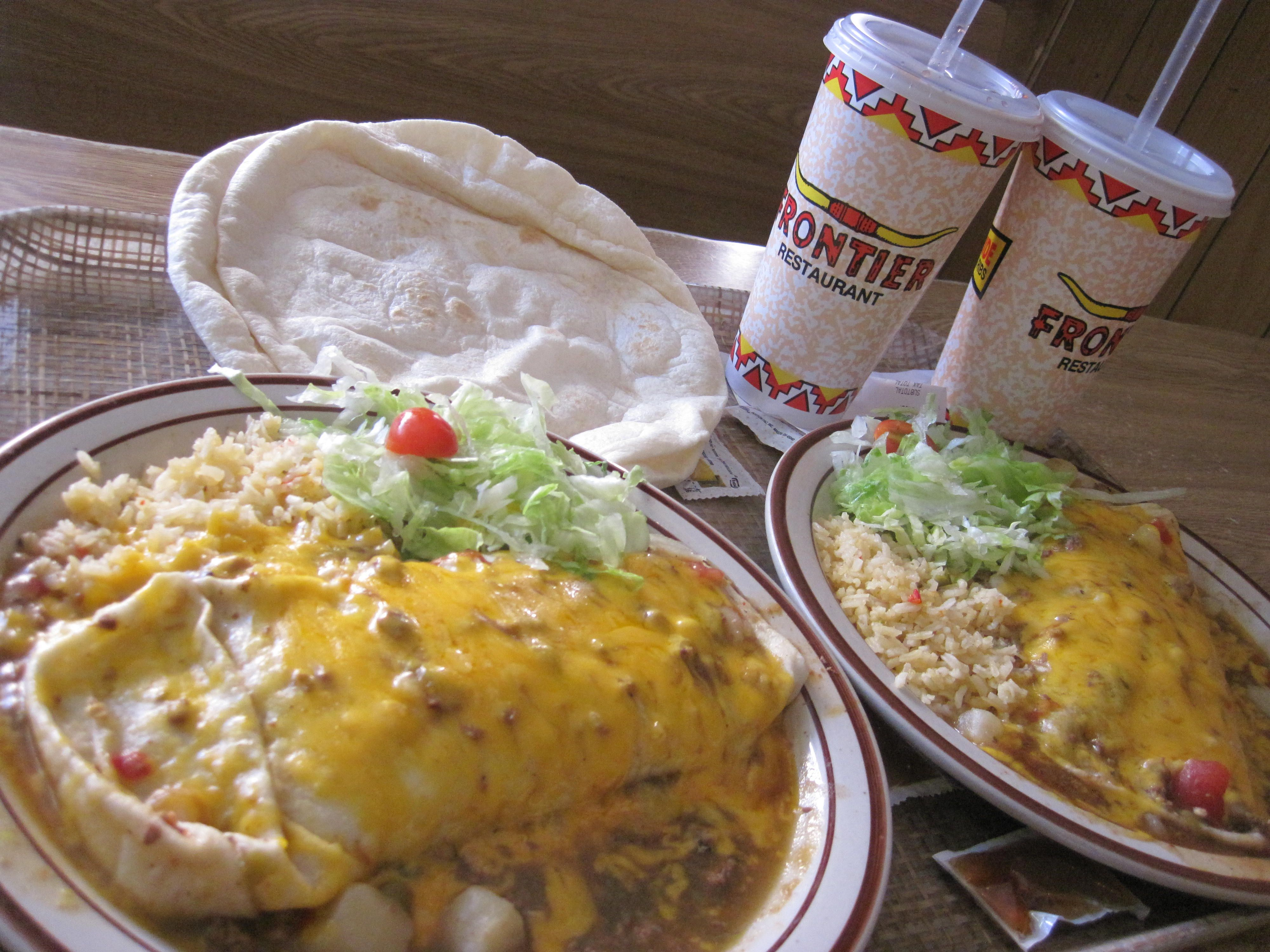 Frontier Burrito Beef Beans Green Chile Inside Green Chile Stew Cheese On Top W Rice And Flour Torti Mexico Food Best Lunch Recipes Mexican Food Recipes