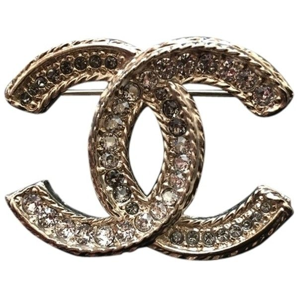 Pre-owned Chanel Brooch [cc Gold-tone & Crystal] (2.525 RON) ❤ liked on Polyvore featuring jewelry, brooches, accessories, chanel broach, gold tone jewelry, crystal costume jewelry, costume jewellery and ribbon jewelry