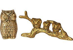 One Kings Lane - Brass Menagerie - Brass Owls, S/2