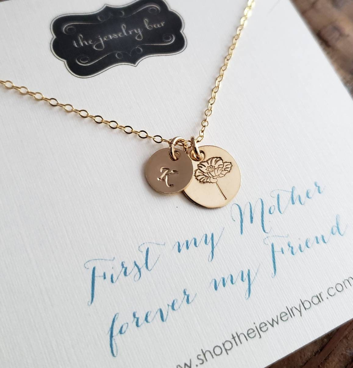 Birthday gift for mom, Personalized Birth flower necklace