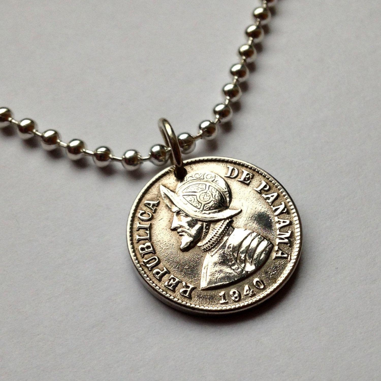1940 Panama 2-1/2 centesimos coin pendant necklace Armored helmet Vasco Núñez de Balboa Spanish explorer Panamanian America No.001175 by acnyCOINJEWELRY on Etsy