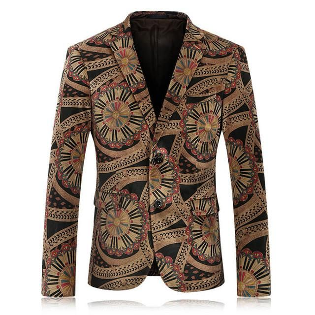 Men Floral Blazer Slim Fit Velvet Blazer Men Vintage Prom Suits ...