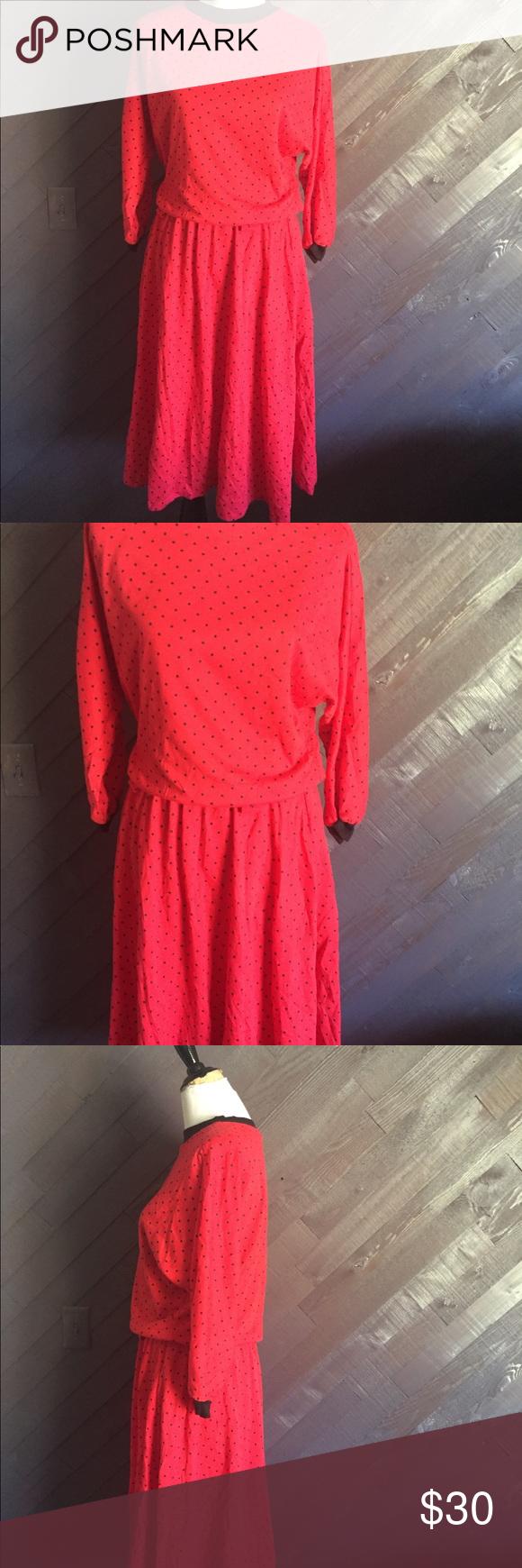 Vintage red polka dot dress red polka dot dress arm pits