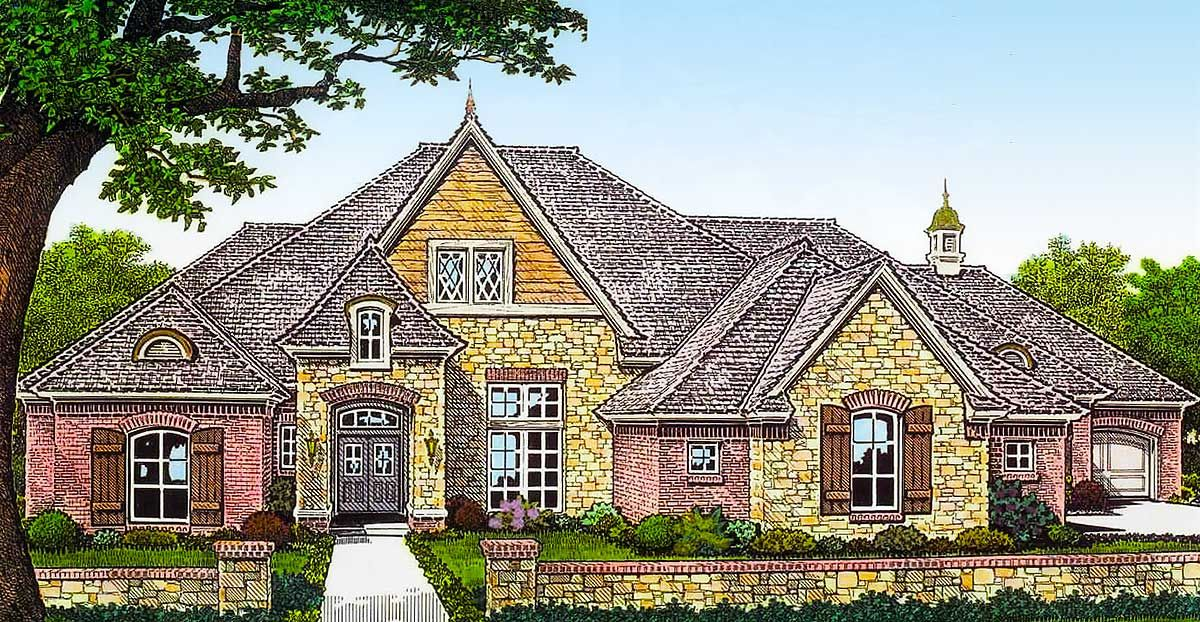 Plan 48533fm Exclusive French Country House Plan With Separate Garages French Country House French Country House Plans Backyard House