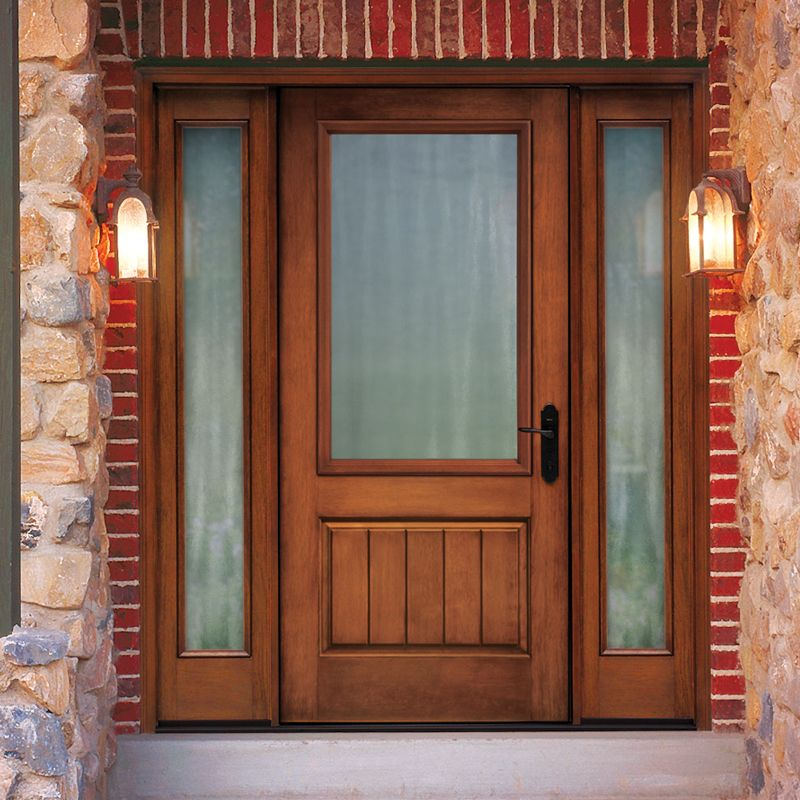 Thermatru classic craft rustic fiberglass entry door with for Fiberglass entry doors with sidelights