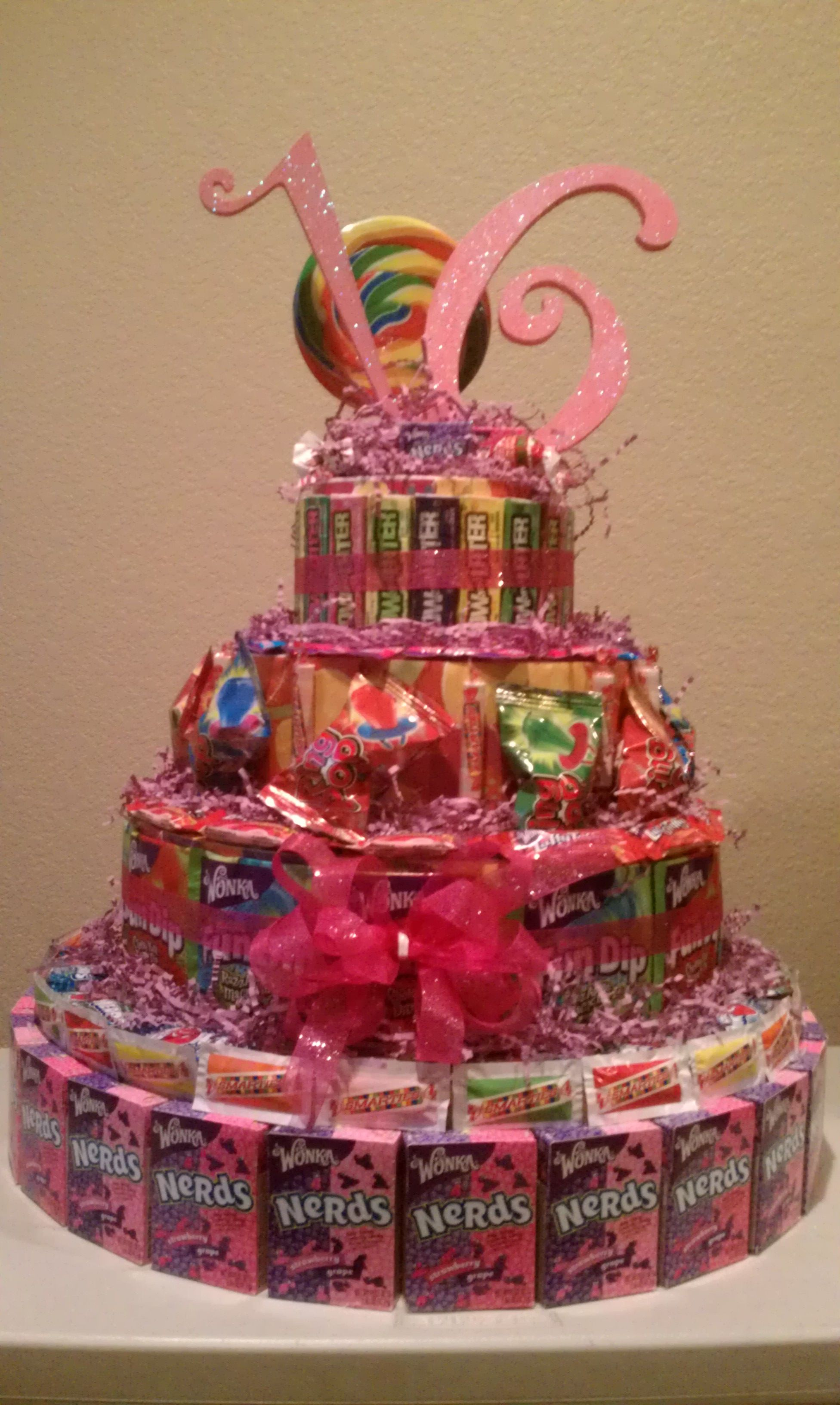 Sweet 16 Candy Cake! Cool Idea Stacey!