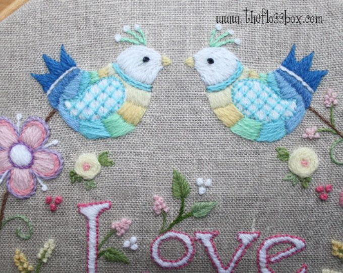 FLOWER POWER Hippie Style blue jean crewel embroidery PATTERN ...