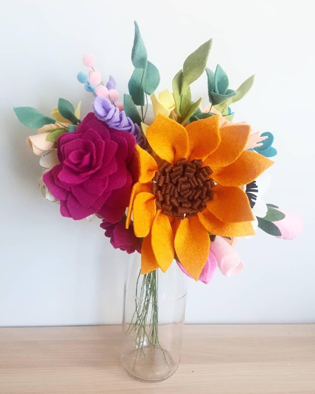 Felt flower bouquet felt flowers felt flowers on stem