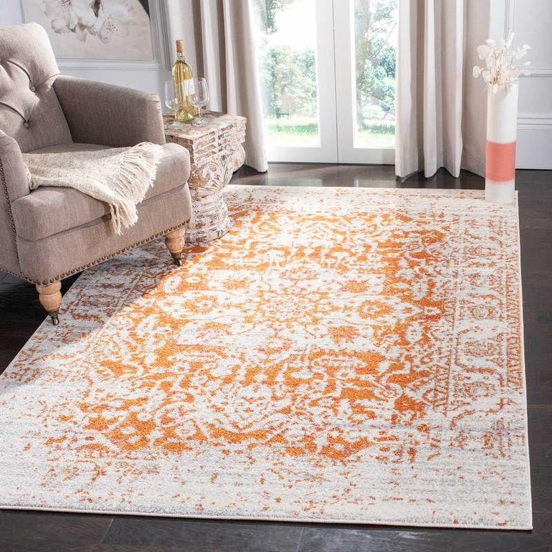 Madison Distressed Orange Ivory Area Rug Vintage Oriental Rugs Area Rugs Rugs