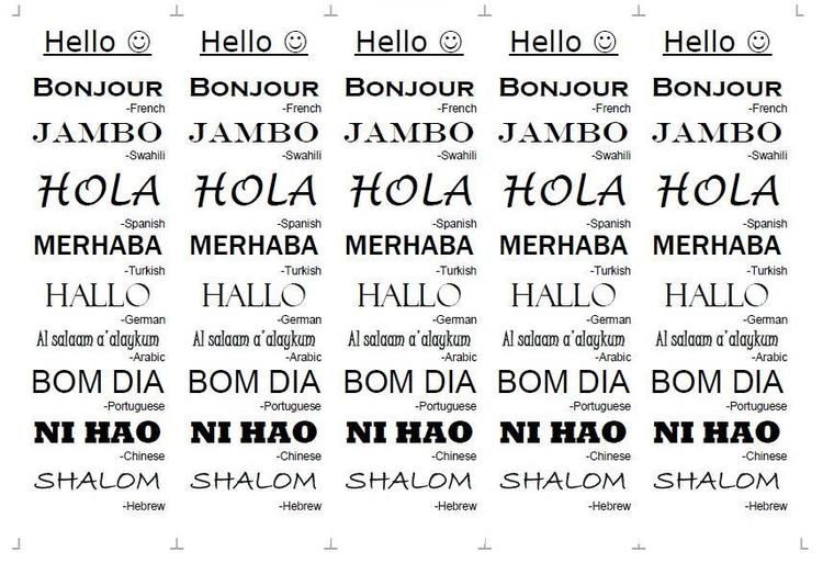 Hello in Many Languages Bookmarks. Download free bookmark