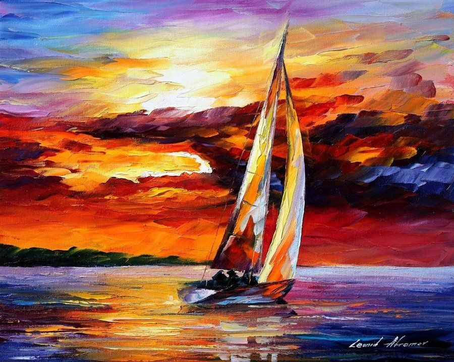 Marine Sailing boat By Leonid Afremov scenery oil painting on canvas,oil paintings can apply for hotel,beerbar oil paint decora