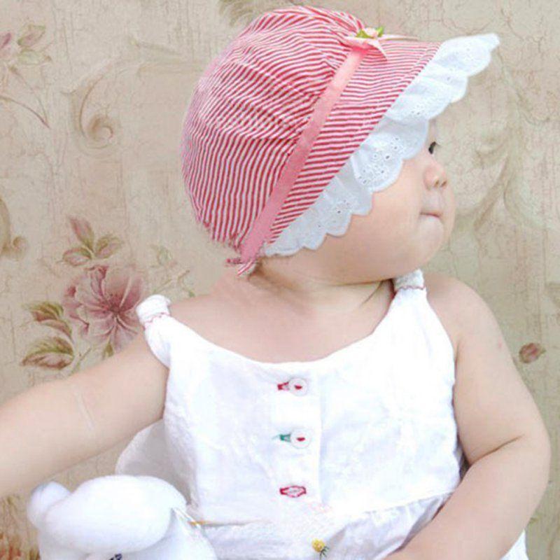 Toddler Visor Flower Lace Baby Bucket Hats Girl Sun Cap Bonnet Beanie Cotton