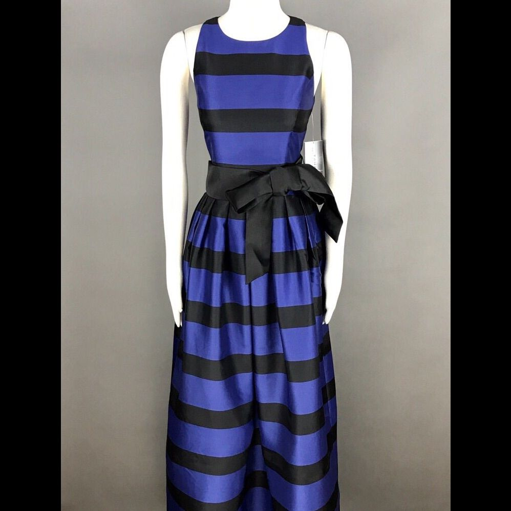 Tahari asl navy black formal maxi dress size new products