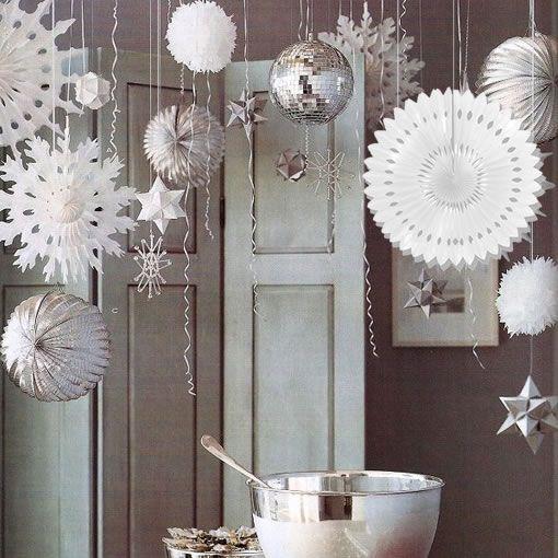 Abanicos de papel para colgar de Navidad - Decoraciones para navidad