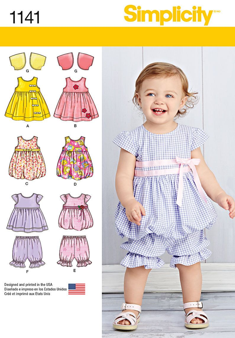 Sewing Pattern-Simplicity 1141 Top, Dress Romper and Bottom ...