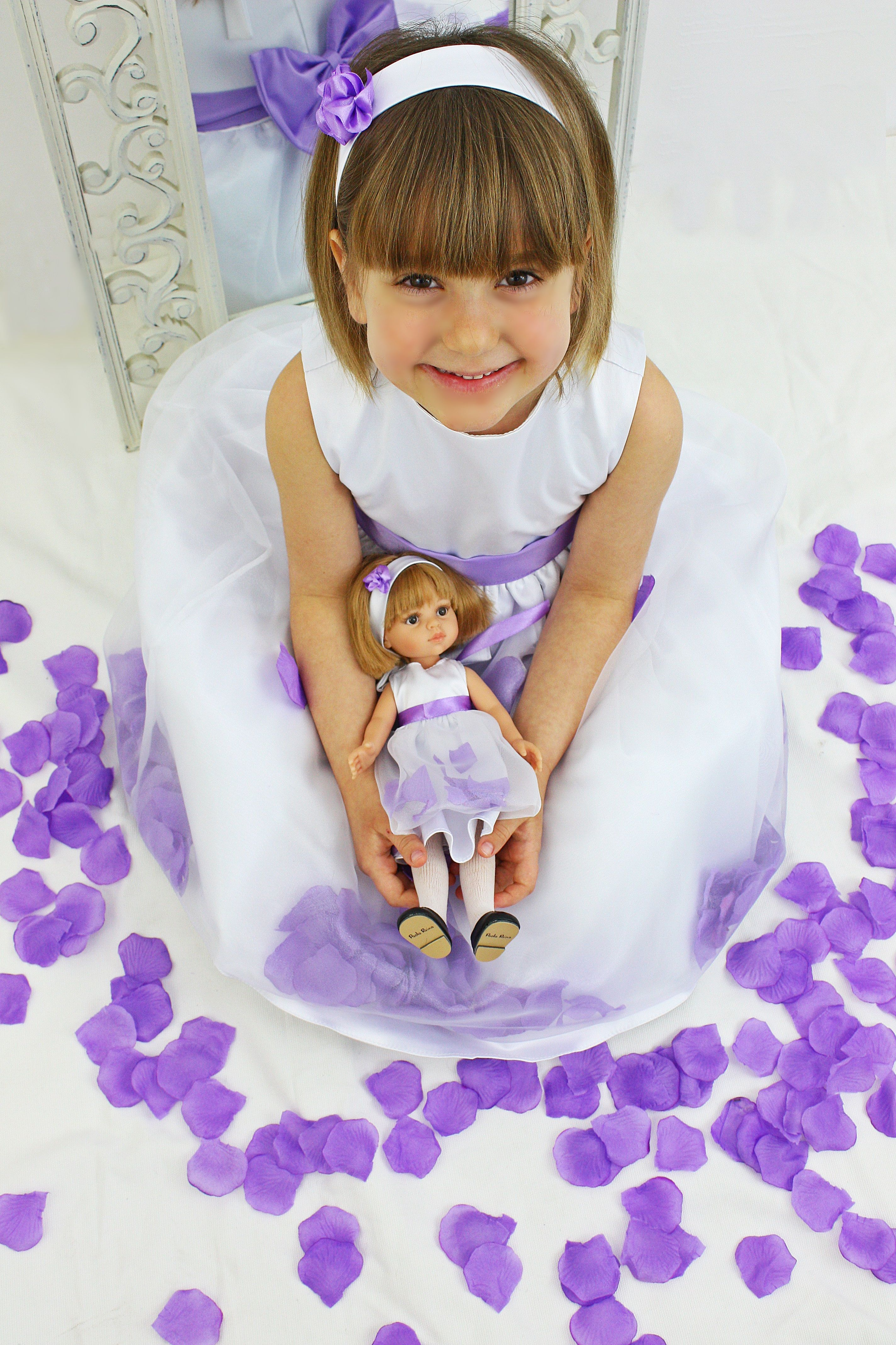 dress with purple flower petals insinde for girl and doll twin sister doll best christmas gift ever