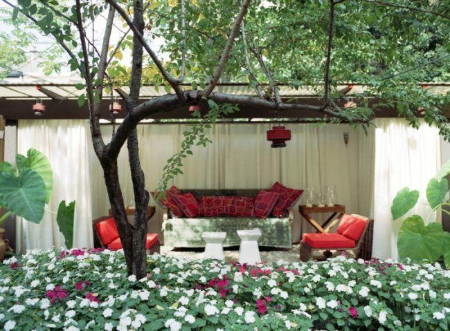 Sichtschutz Garten selber bauen Terrasse Pergola Vorhänge - trennwand garten selber bauen