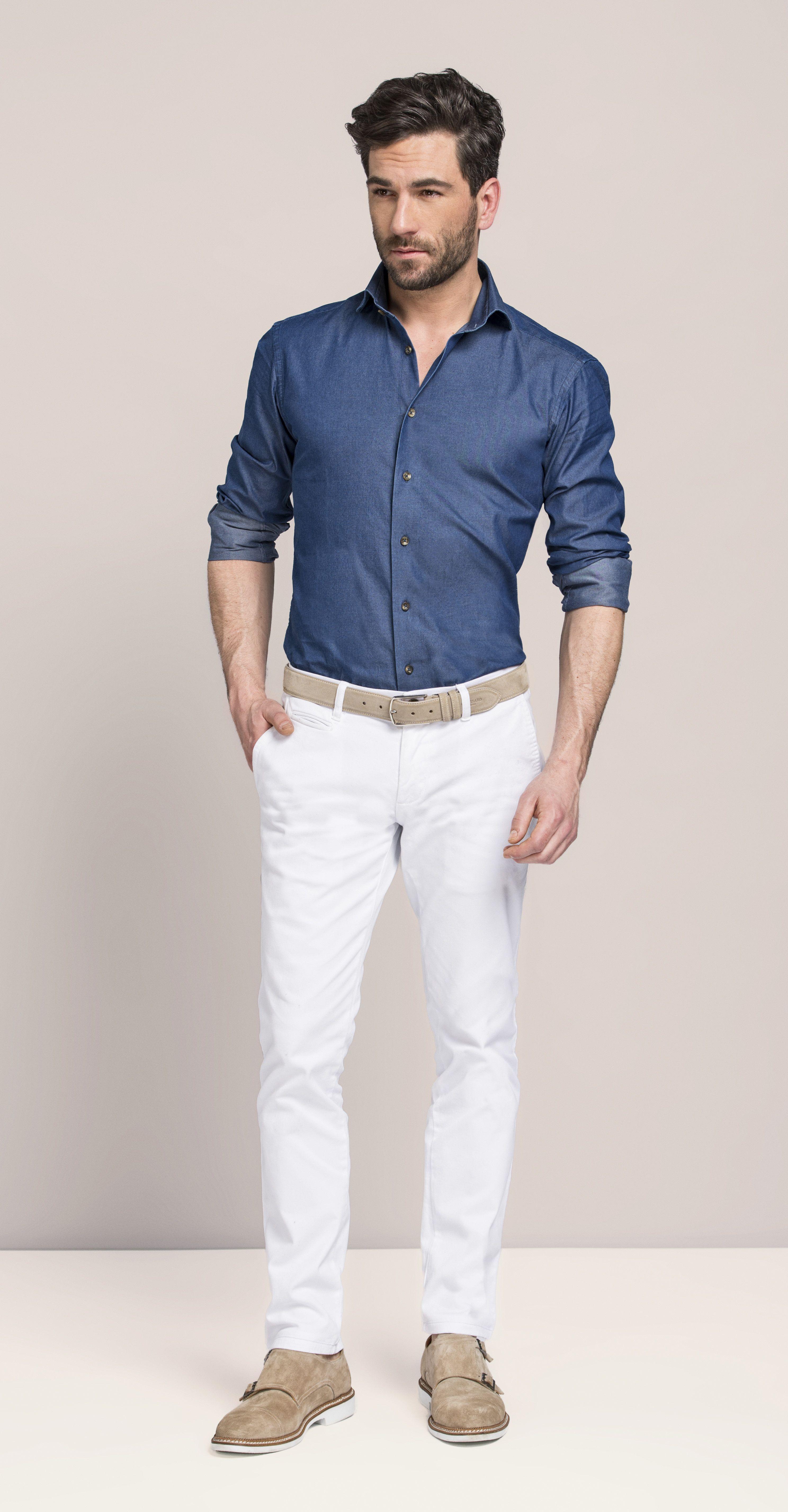 8fdcf9d17ecad Look masculino com camisa social azul