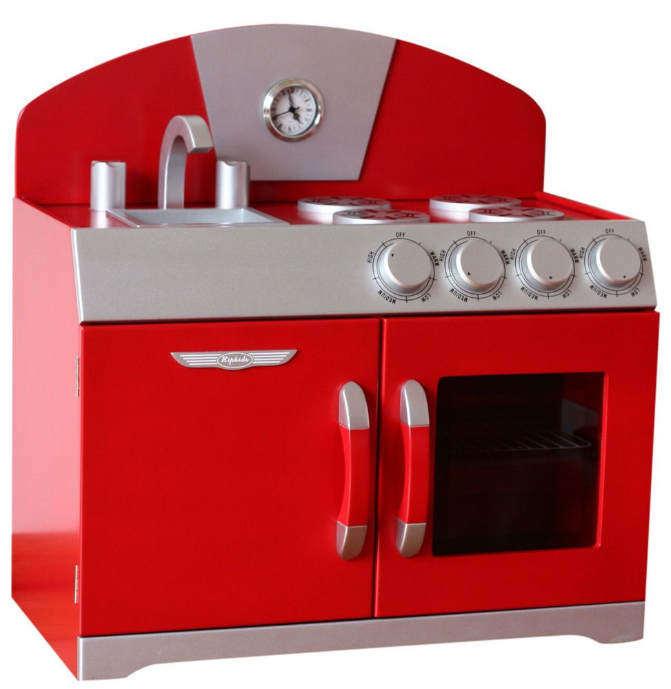 Hip Kids Red Retro Pretend Play Kitchen Wooden Toy Stove