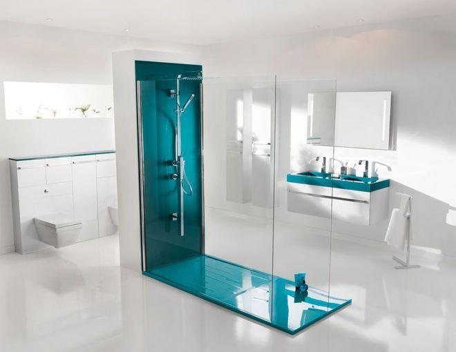 Une douche à l\'italienne design et colorée | Sale de bains moderne ...