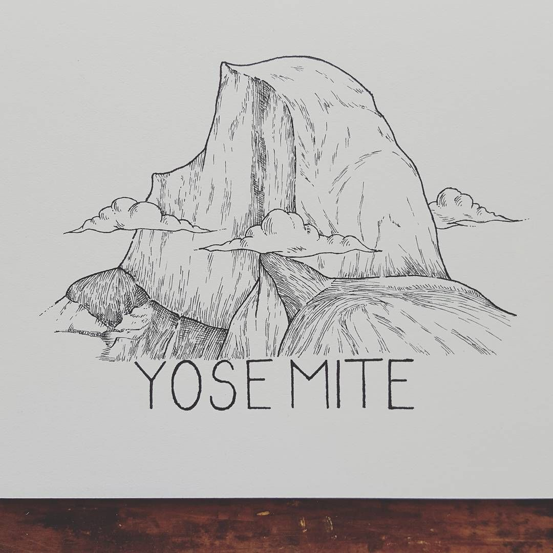 Yosemite National Park Cartoon Drawing: Yosemite Art, Mountain Drawing