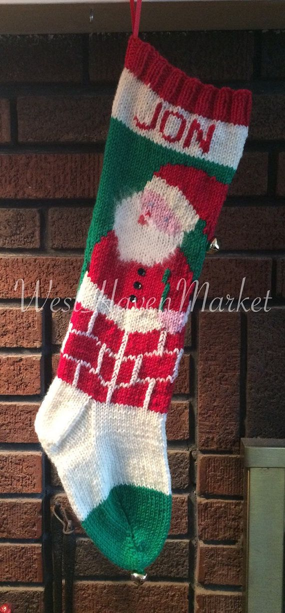 Kit for Vintage Personalized Hand Knit Santa in Chimney Christmas ...